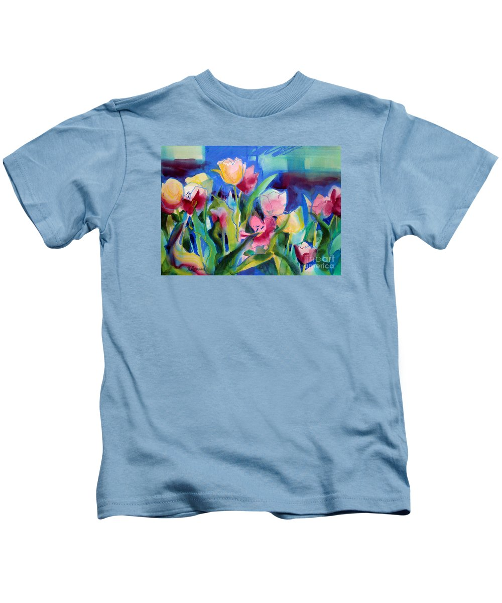 Paintings Kids T-Shirt featuring the painting The Tulips Bed Rock by Kathy Braud