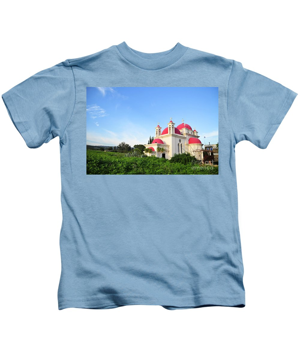 Israel Kids T-Shirt featuring the photograph the Twelve Apostles Church by Shay Levy