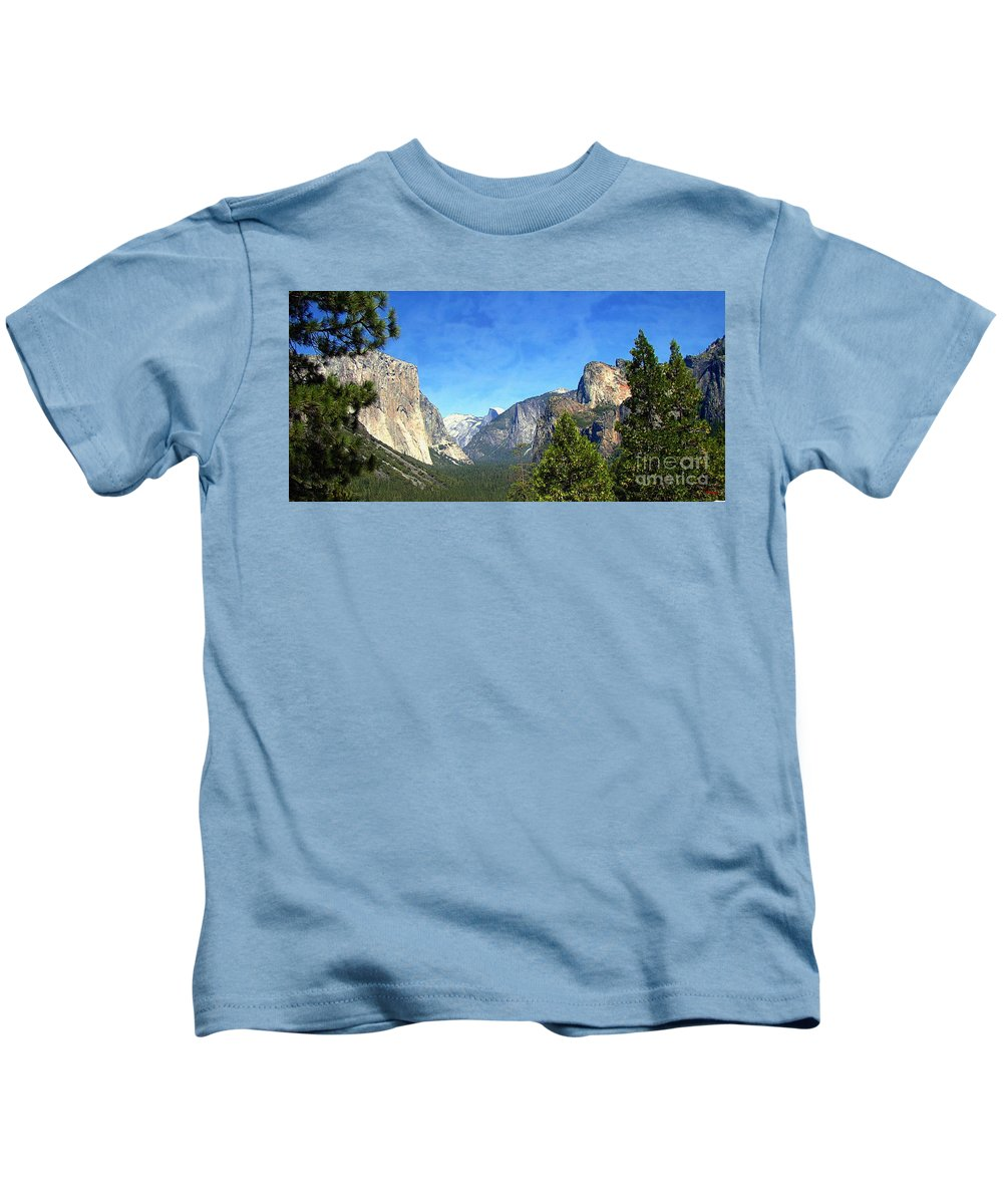 Panoramic Kids T-Shirt featuring the photograph The Valley Of Inspiration-yosemite by Glenn McCarthy Art and Photography