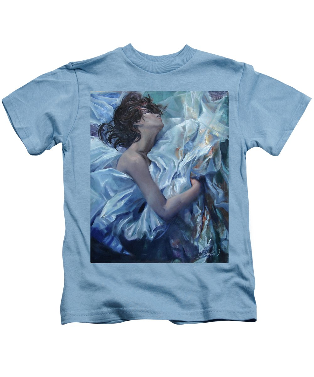 Ignatenko Kids T-Shirt featuring the painting The Waiting For The Spring by Sergey Ignatenko