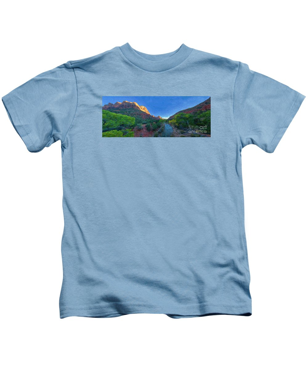 Virgin River Kids T-Shirt featuring the photograph The Watchman Zion National Park by Bitter Buffalo Photography