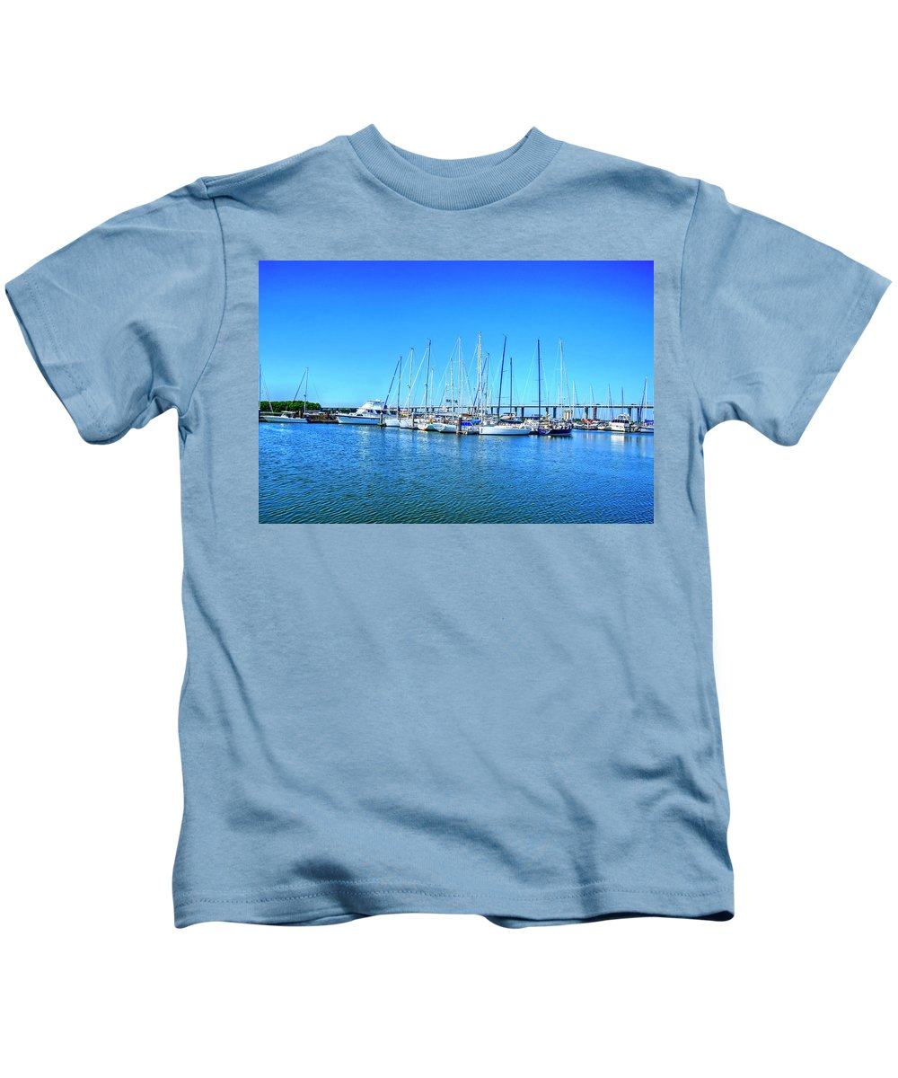 Boats Kids T-Shirt featuring the photograph The Yacht Club by TJ Baccari