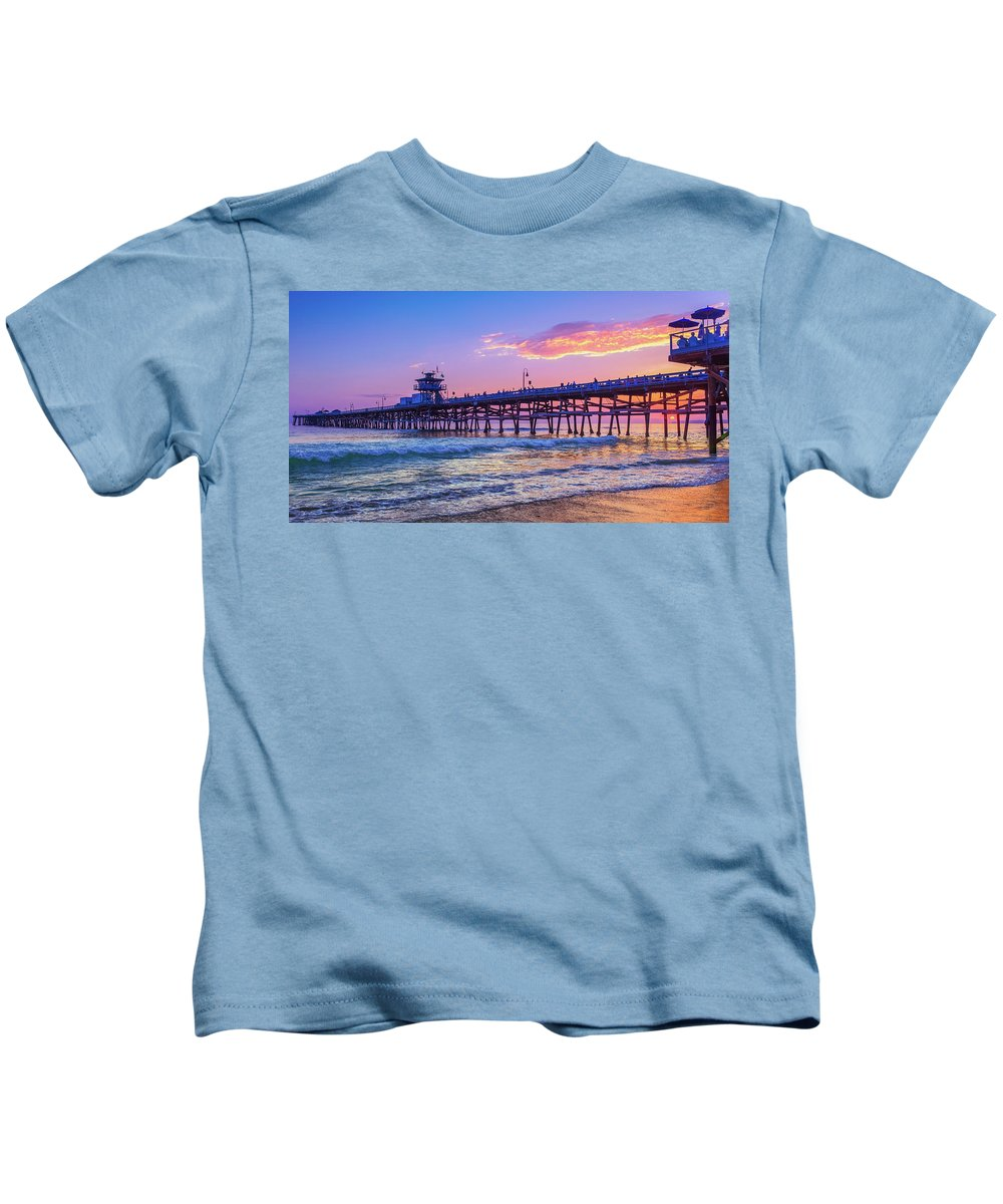 San Clemente Kids T-Shirt featuring the photograph There Will Be Another One - San Clemente Pier Sunset by Scott Campbell