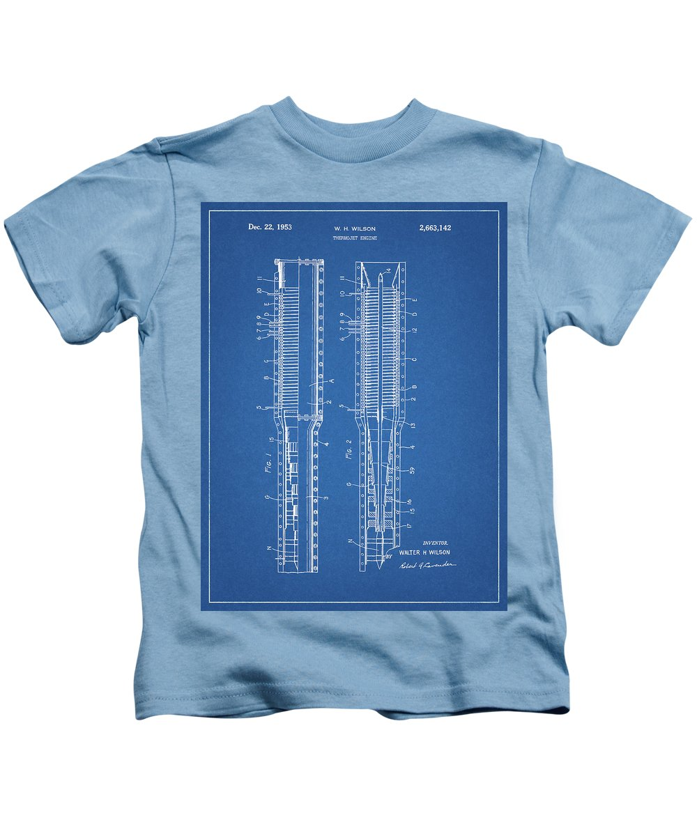 Thermojet Engine Patent Kids T-Shirt featuring the mixed media Thermojet Engine Patent by Dan Sproul