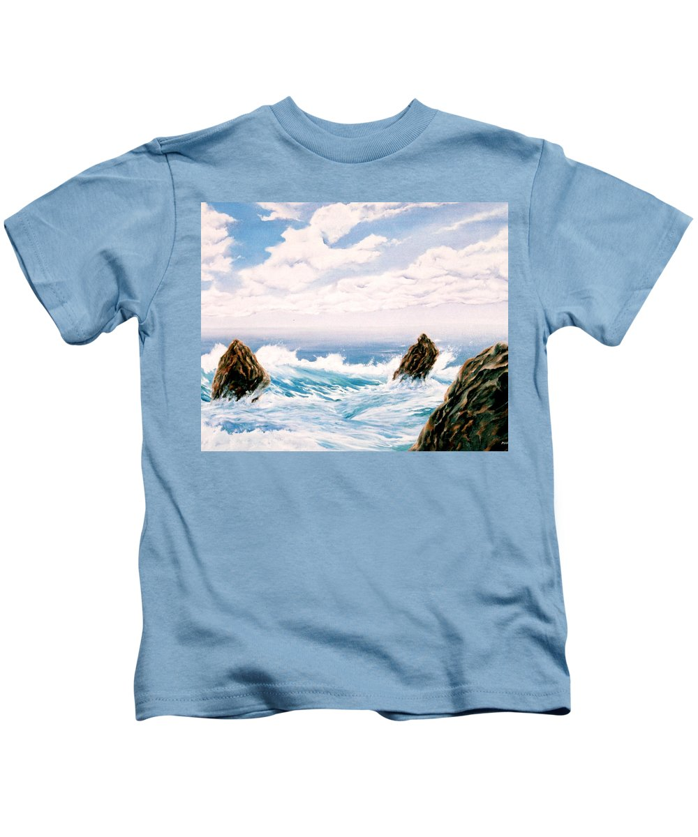 Seascape Kids T-Shirt featuring the painting Three Rocks by Mark Cawood