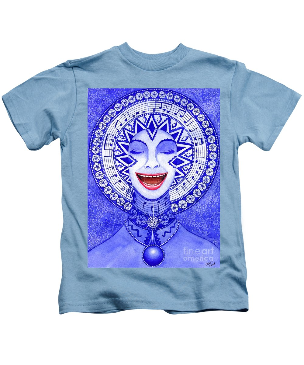 Chakra Kids T-Shirt featuring the painting Throat Chakra by Catherine G McElroy