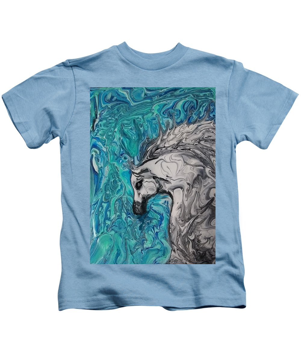 Kids T-Shirt featuring the painting Through The Glass by Marcie Saunders