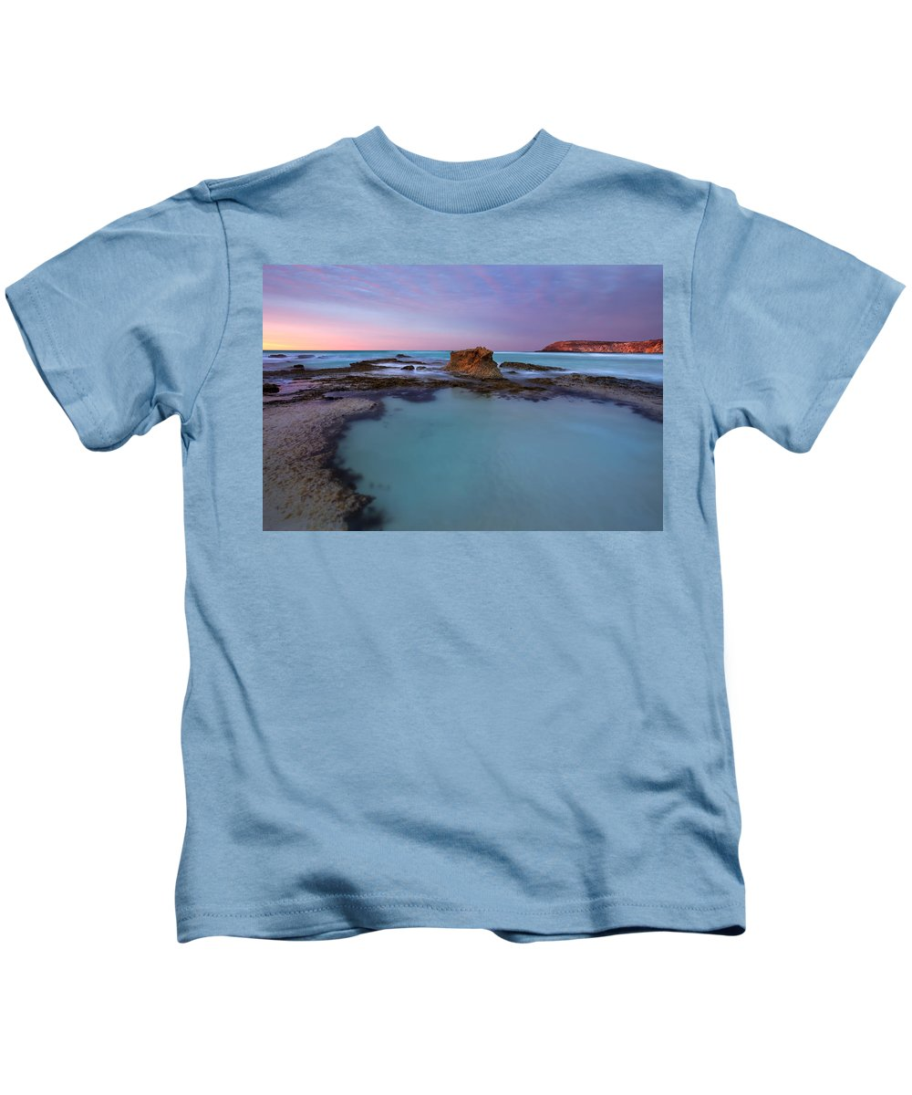 Seascape Tidepools Kids T-Shirt featuring the photograph Tidepool Dawn by Mike Dawson