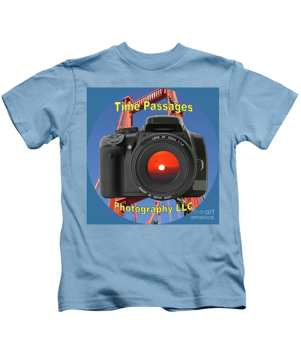 Time Passages Kids T-Shirt featuring the digital art Time Passages Logo by Tommy Anderson
