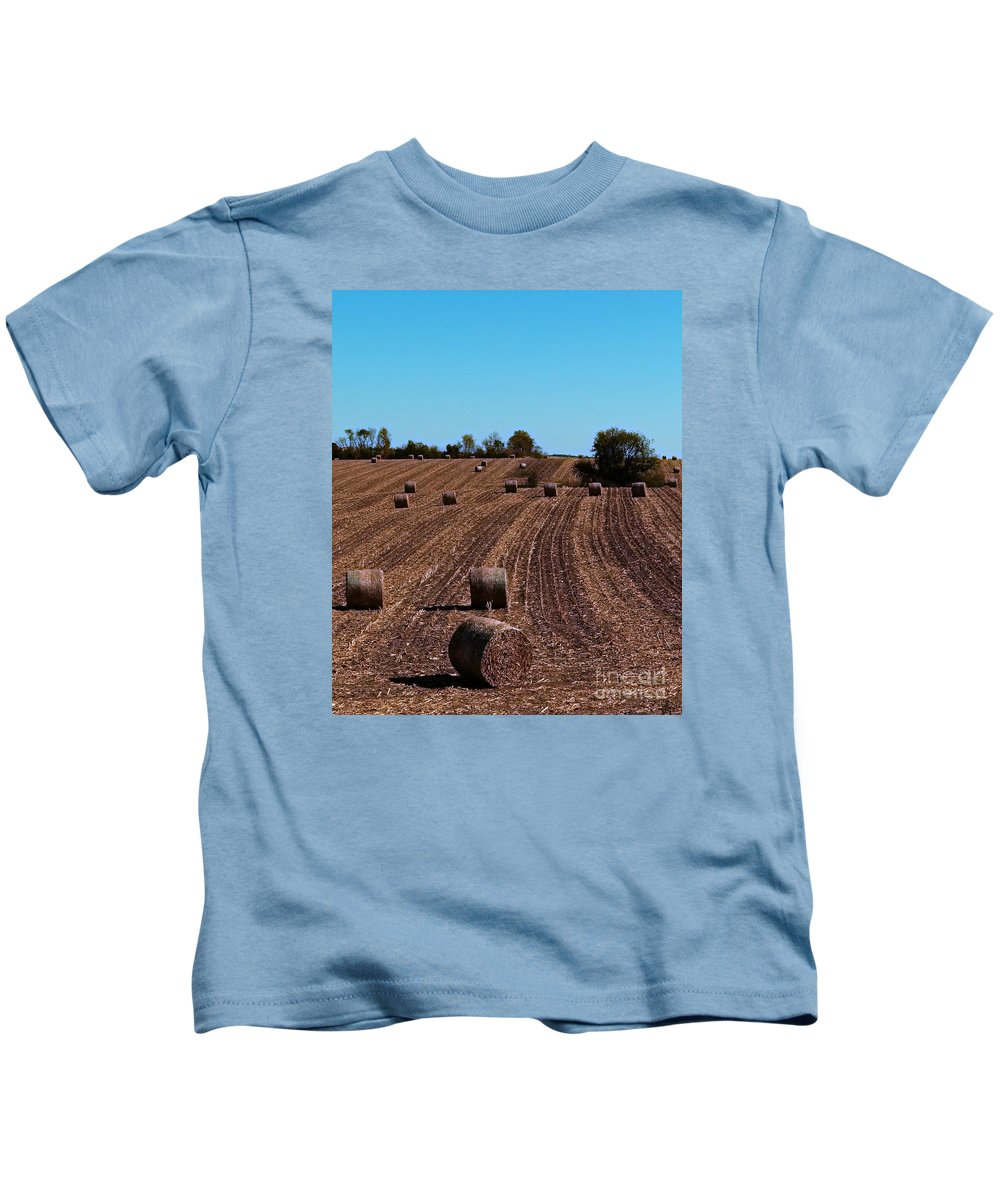 Hay Bales Kids T-Shirt featuring the photograph Time To Bale In Color by Teresa Hayes