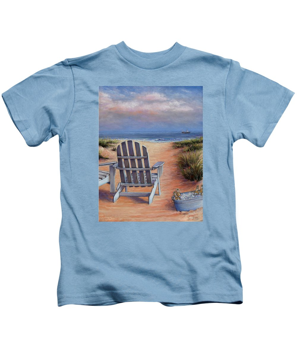 Landscape Kids T-Shirt featuring the pastel Time To Chill by Susan Jenkins