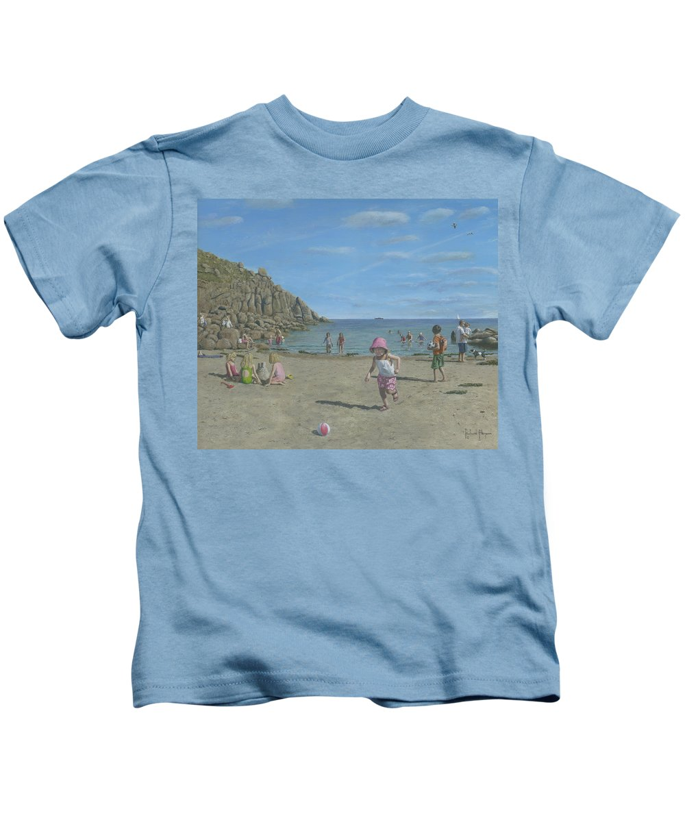Seascape Kids T-Shirt featuring the painting Time To Go Home - Porthgwarra Beach Cornwall by Richard Harpum