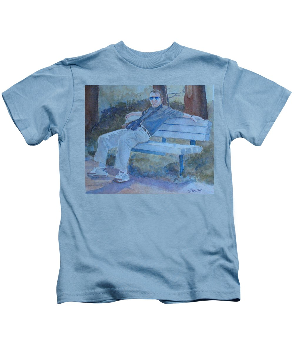 Tourists Kids T-Shirt featuring the painting Tourist At Rest by Jenny Armitage