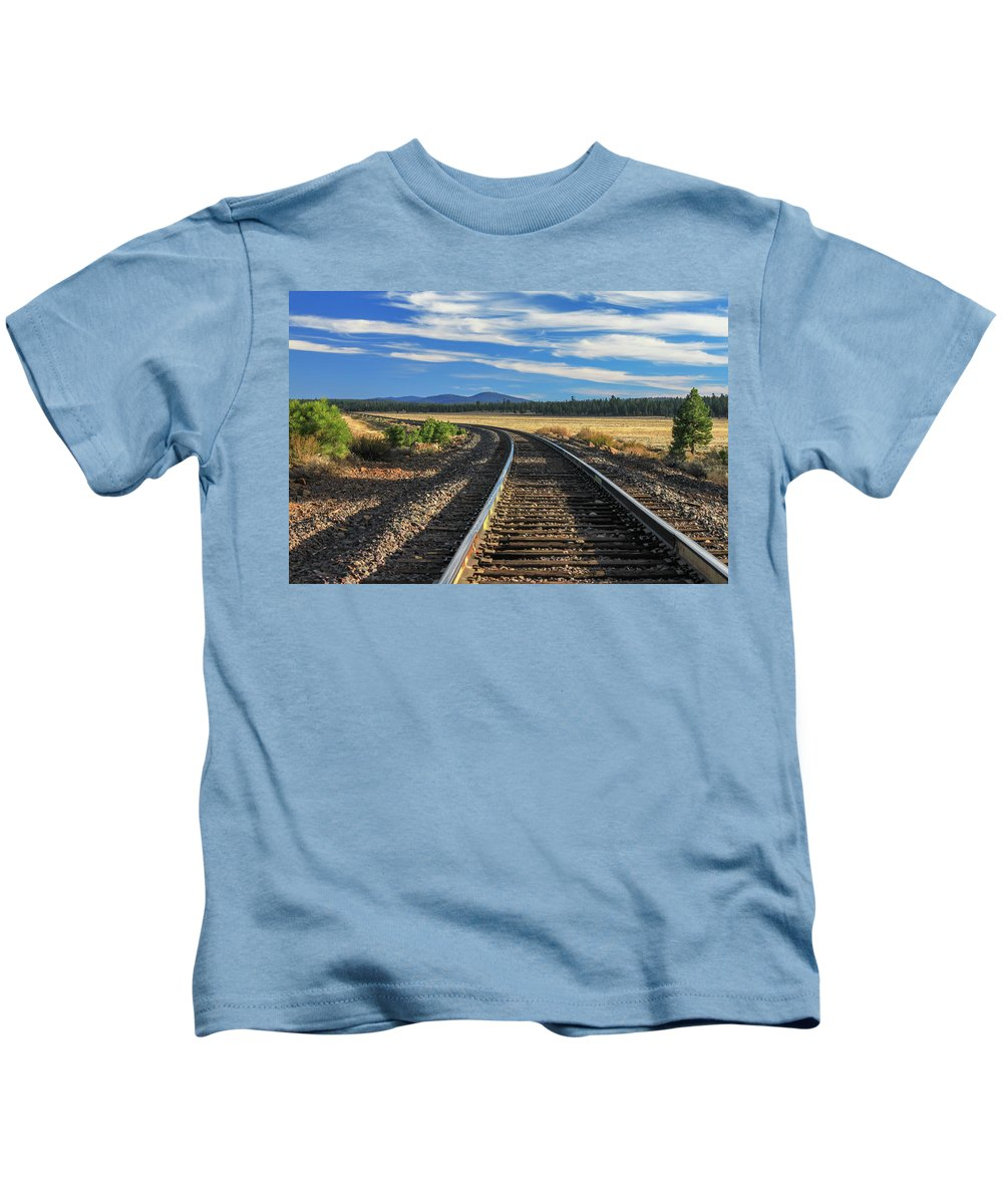 Landscape Kids T-Shirt featuring the photograph Tracks At Crater Lake by James Eddy