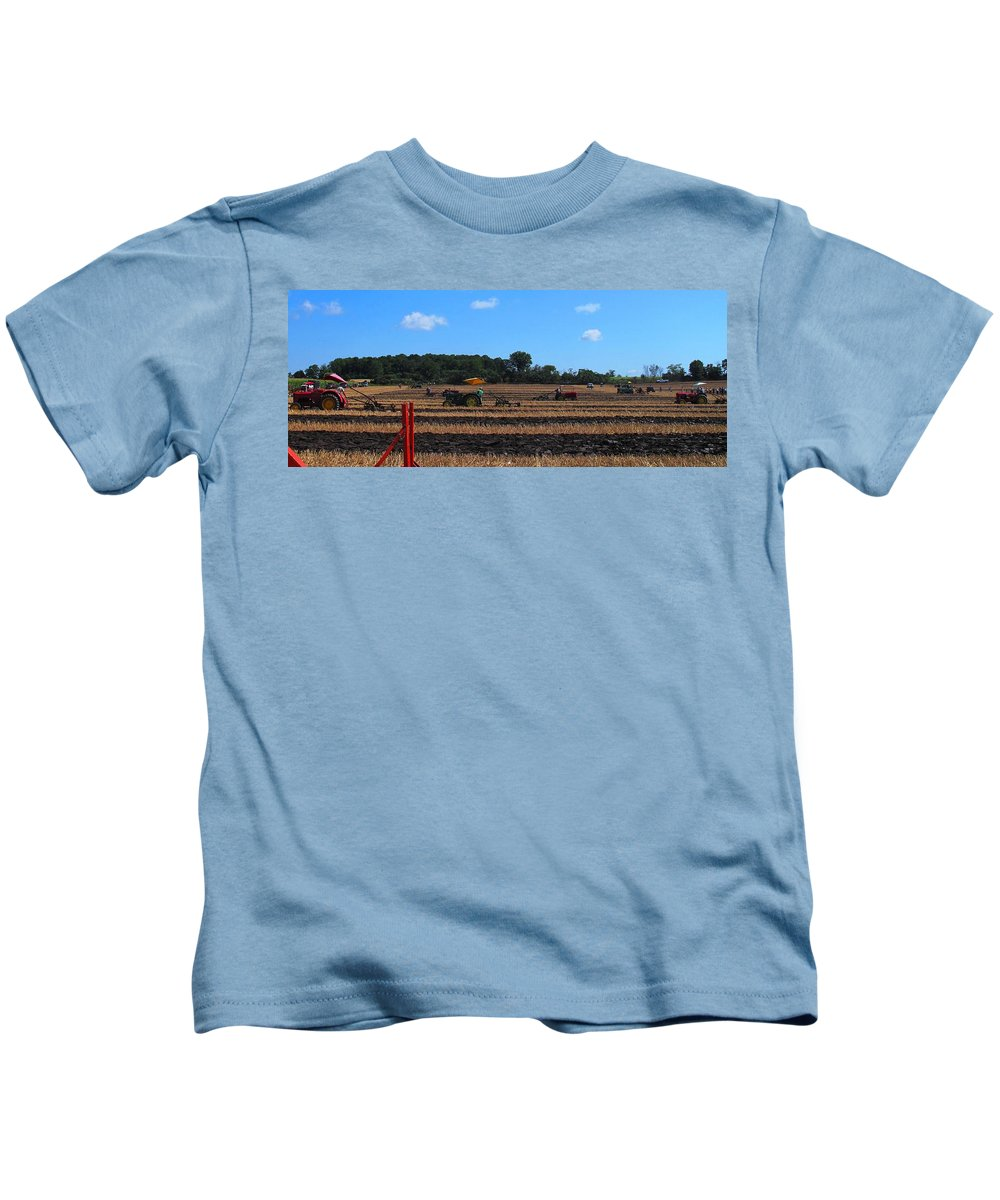 Tractors Kids T-Shirt featuring the photograph Tractors Competing by Ian MacDonald