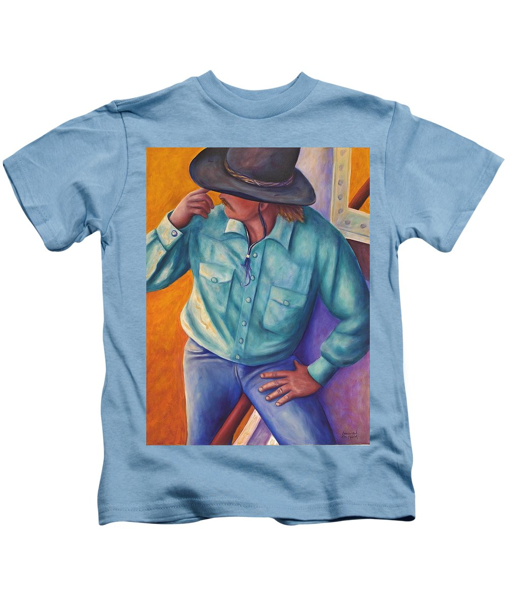 Cowboy Kids T-Shirt featuring the painting Travelin Man by Shannon Grissom