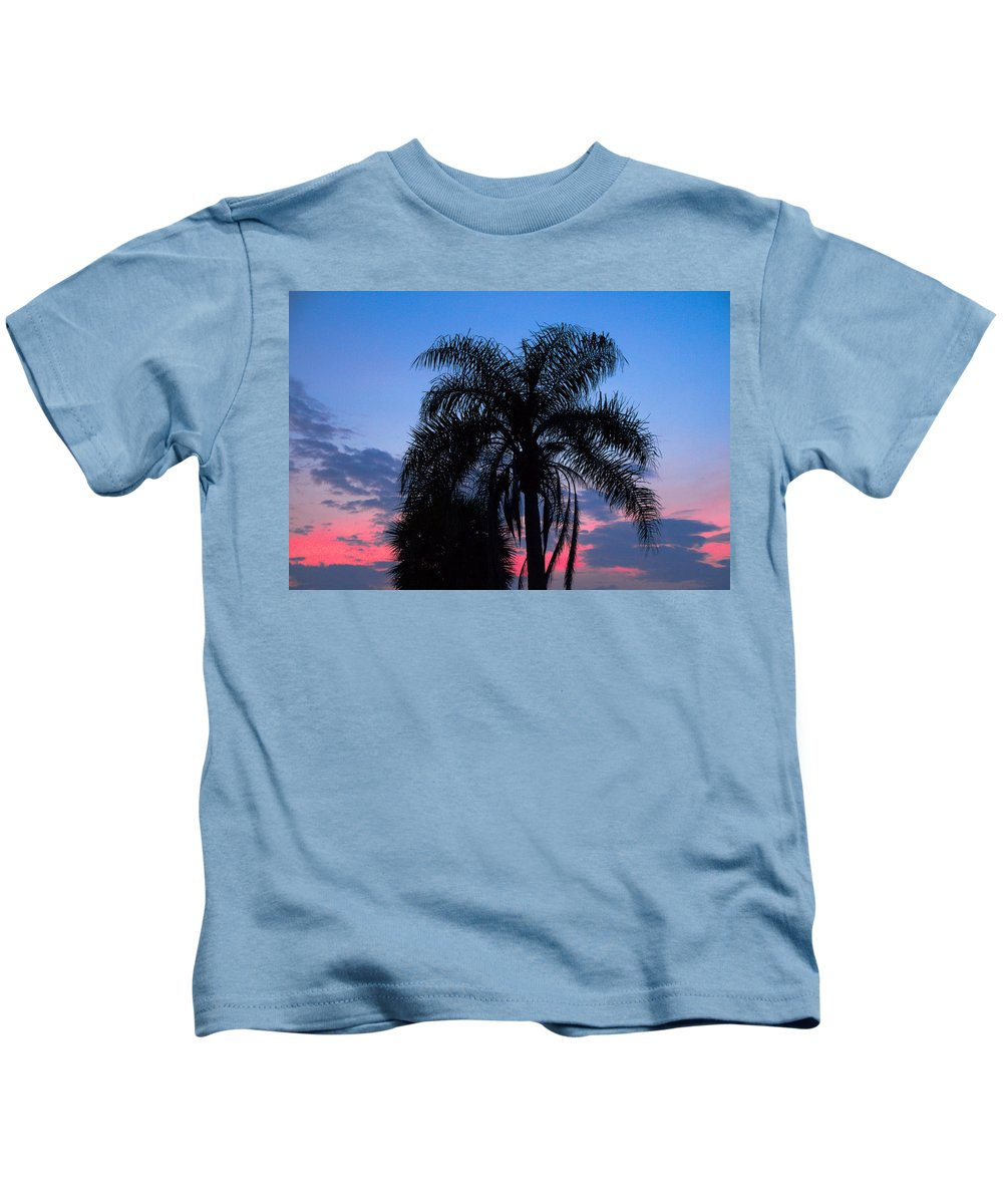Florida; Sunset; Sun; Sunrise; Set; Setting; Rise; Rising; Summer; Melbourne; Beach; Atlantic; Coast Kids T-Shirt featuring the photograph Tropic Sunset In Floirida by Allan Hughes