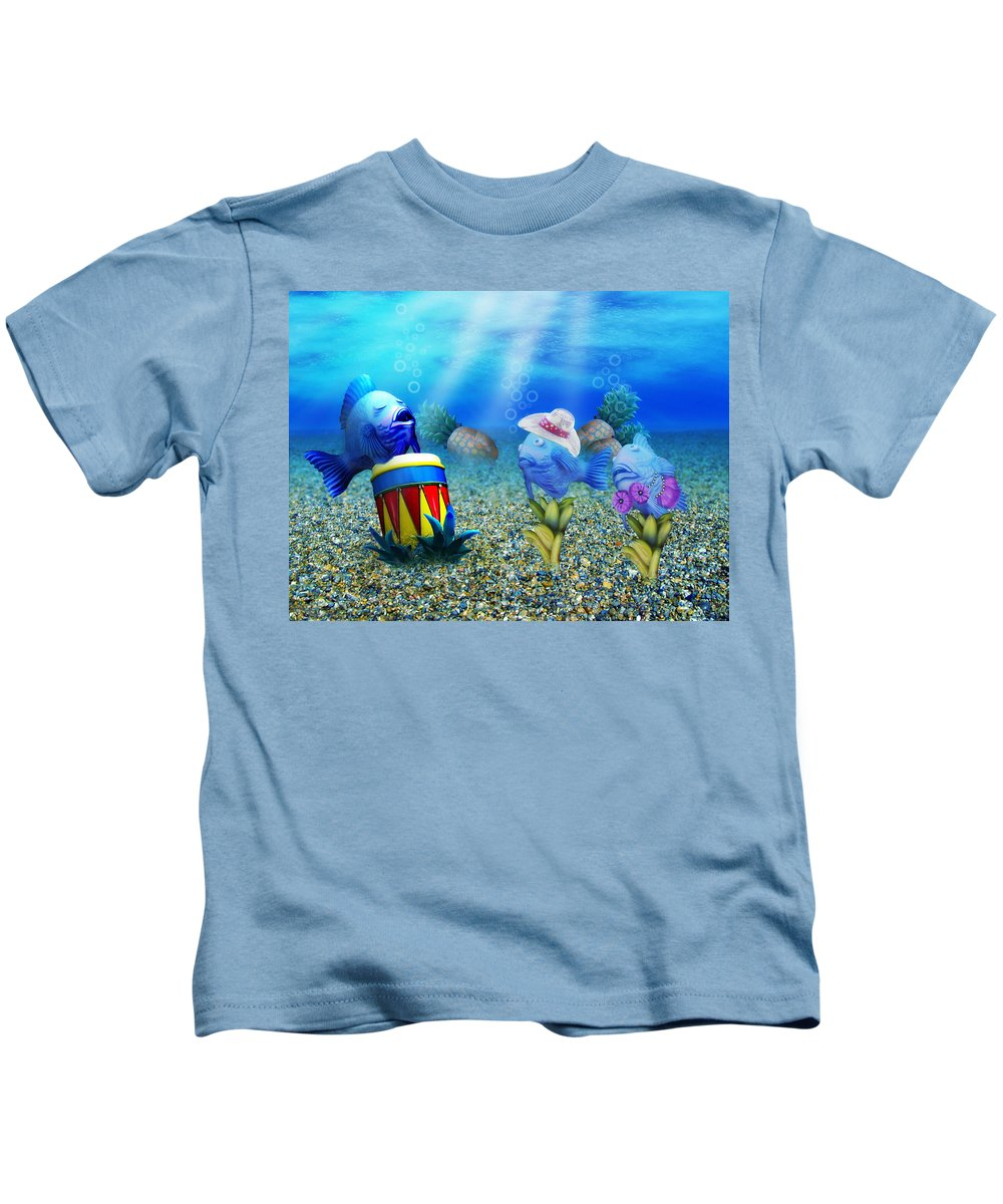 Fish Kids T-Shirt featuring the digital art Tropical Vacation Under The Sea by Gravityx9 Designs