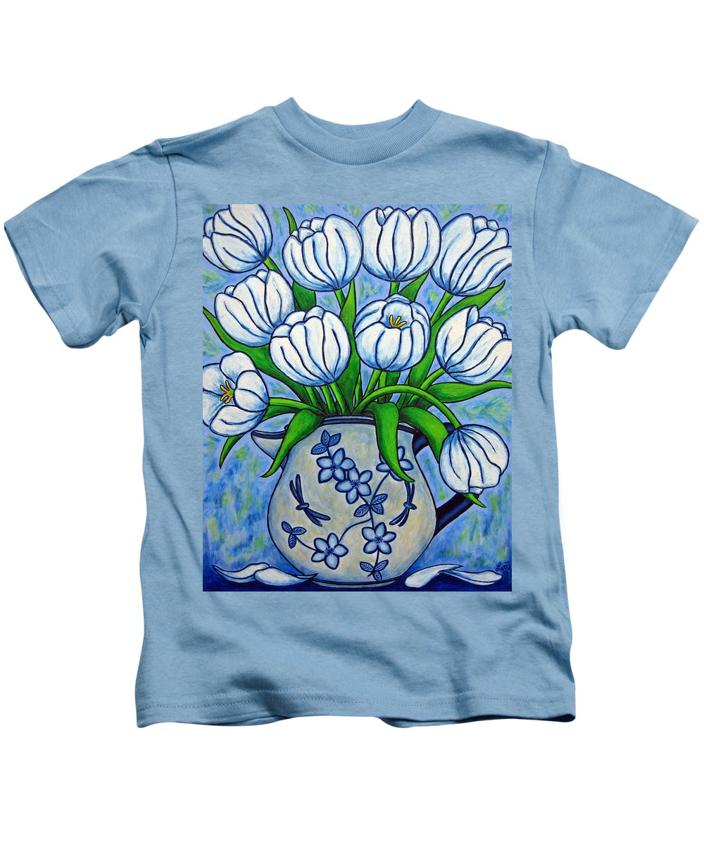 Flower Kids T-Shirt featuring the painting Tulip Tranquility by Lisa Lorenz