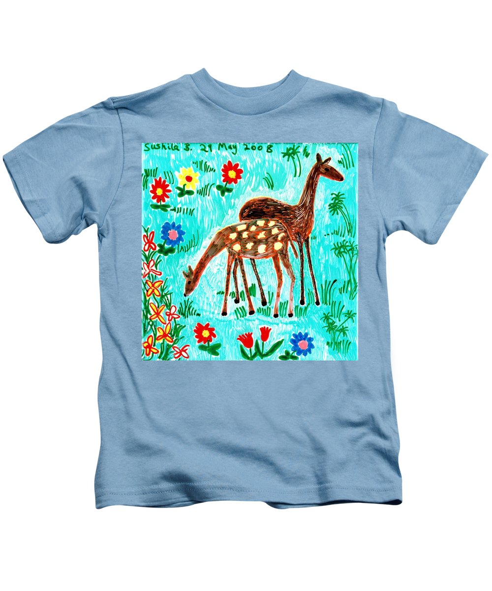 Sue Burgess Kids T-Shirt featuring the painting Two Deer by Sushila Burgess