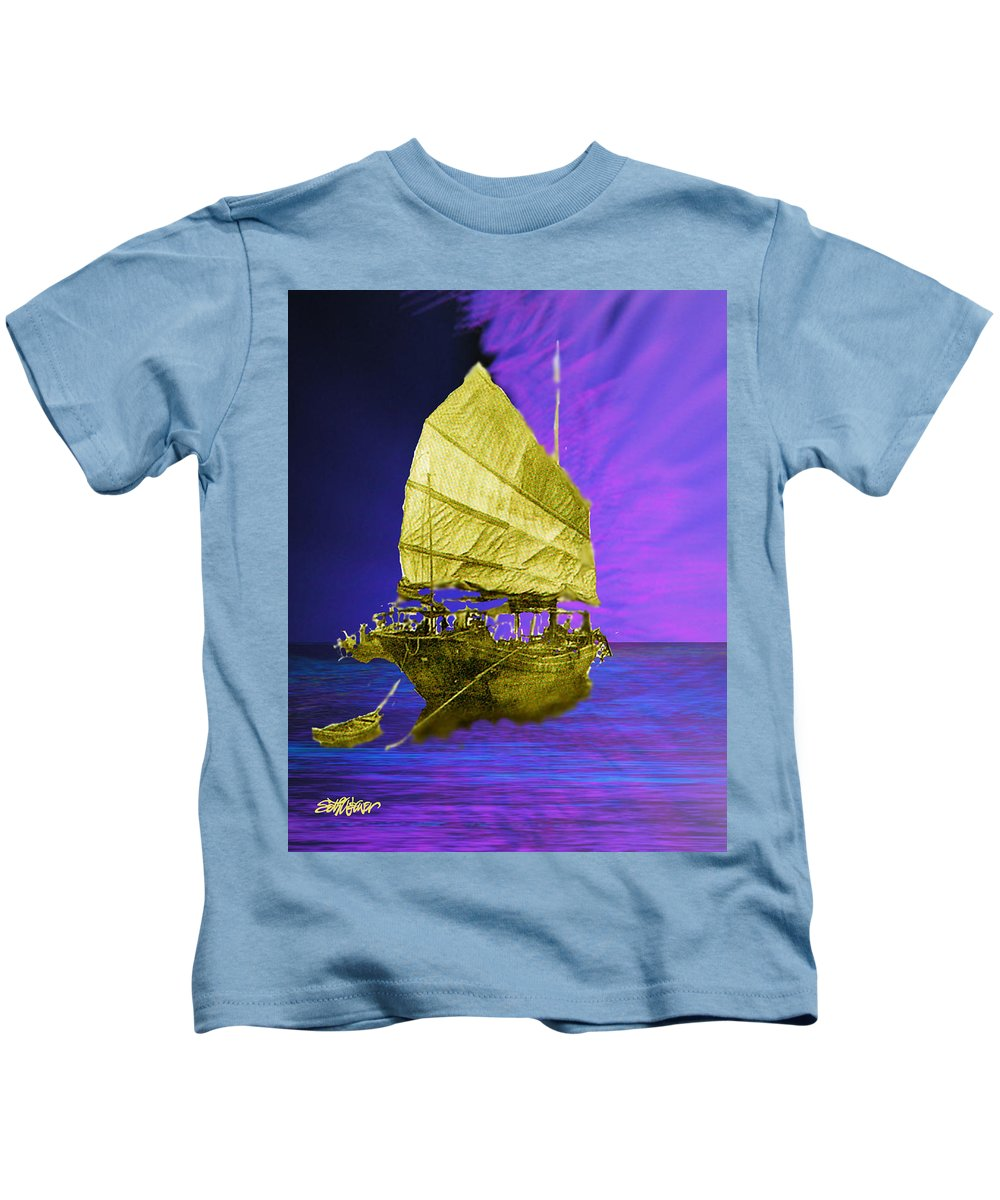 Nautical Kids T-Shirt featuring the digital art Under Golden Sails by Seth Weaver