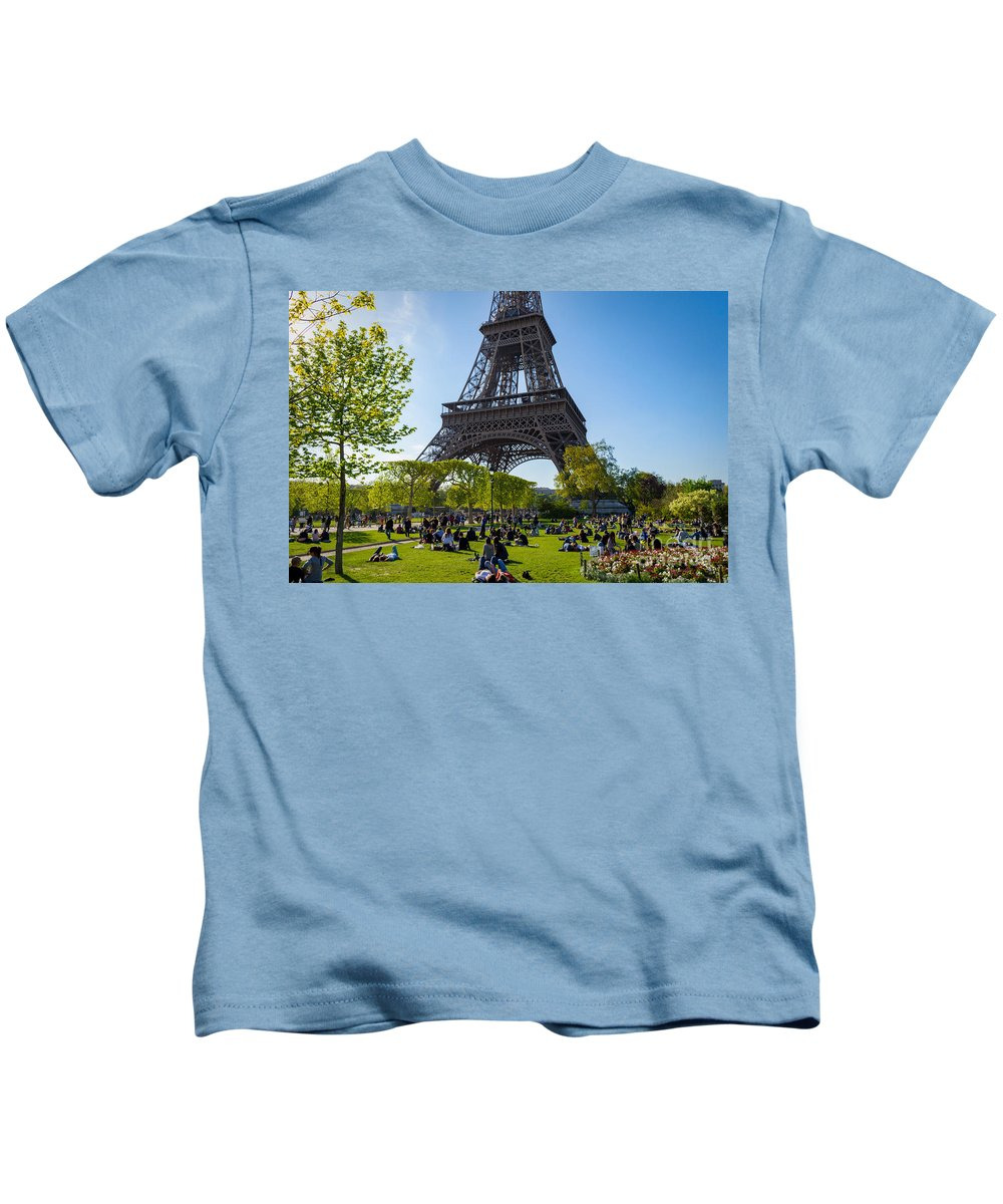 Paris Kids T-Shirt featuring the photograph Under The Eiffel Tower, Paris by Sinisa CIGLENECKI
