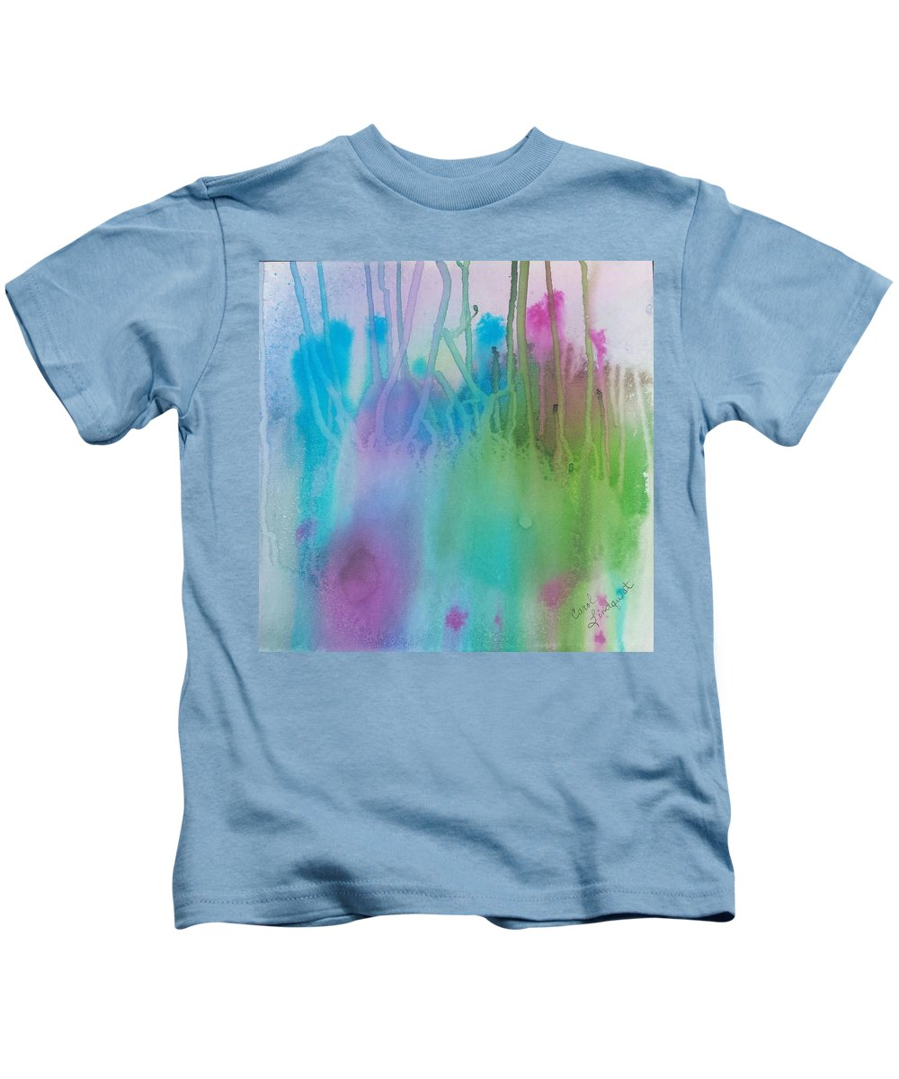 Blue Kids T-Shirt featuring the painting Underwater Plants by Carol Lindquist
