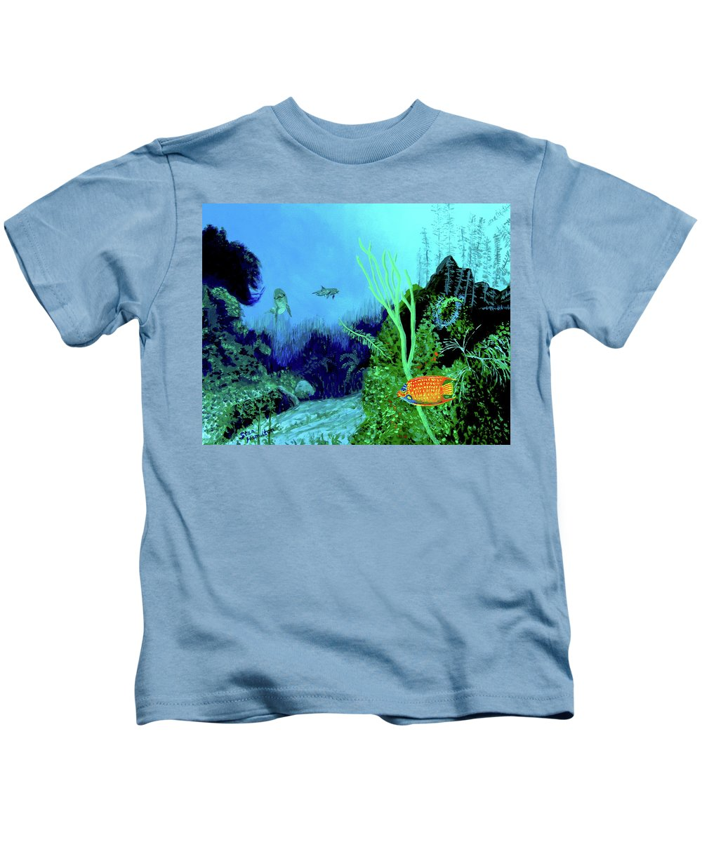 Wildlife Kids T-Shirt featuring the painting Underwater by Stan Hamilton