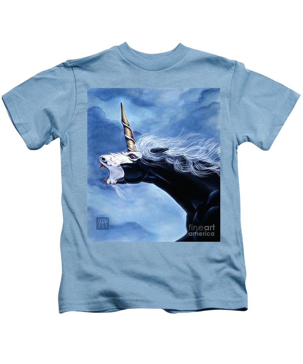 Unicorn Kids T-Shirt featuring the painting Unicorn Fury by Melissa A Benson