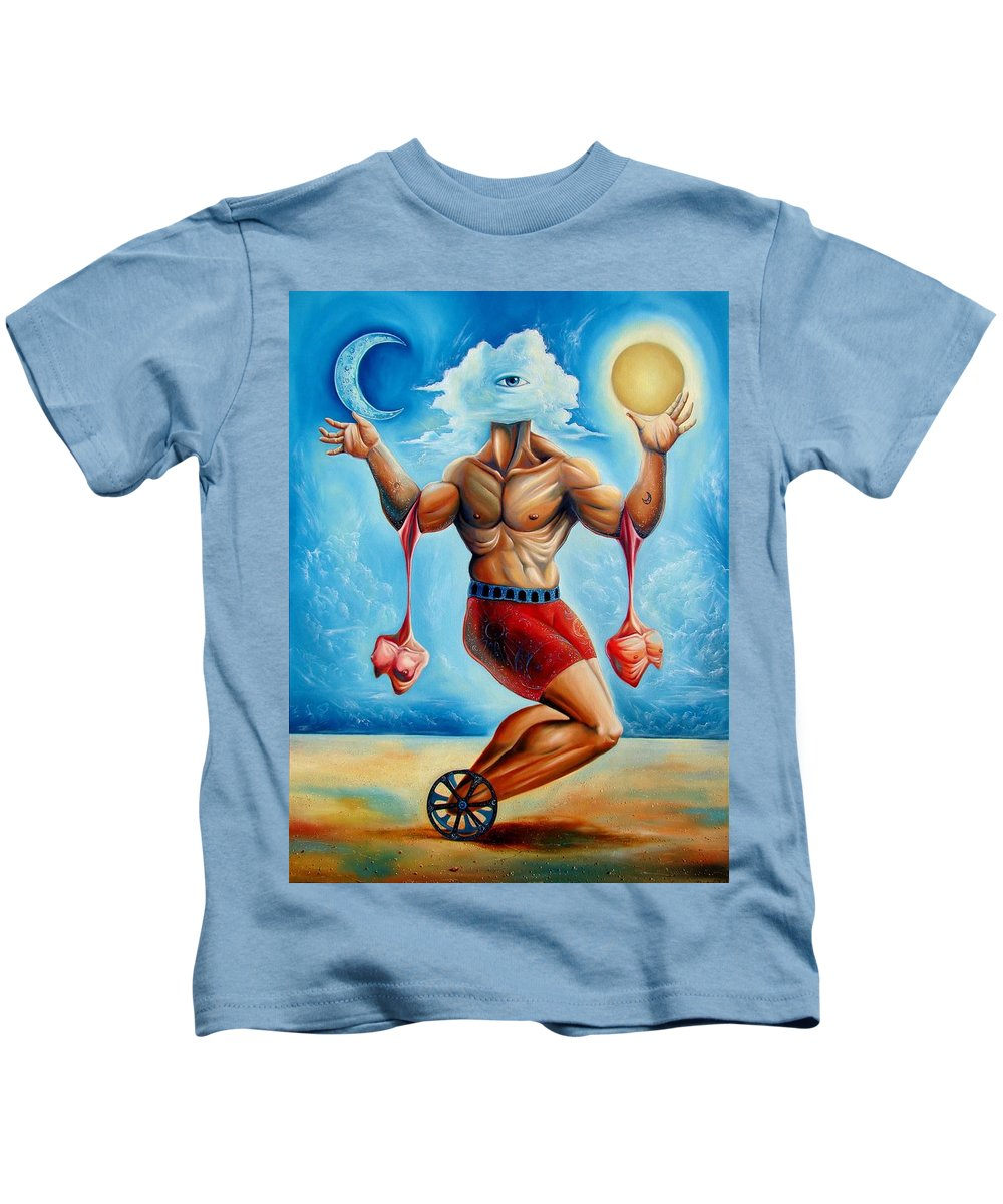 Surrealism Kids T-Shirt featuring the painting Universal Acrobat by Darwin Leon