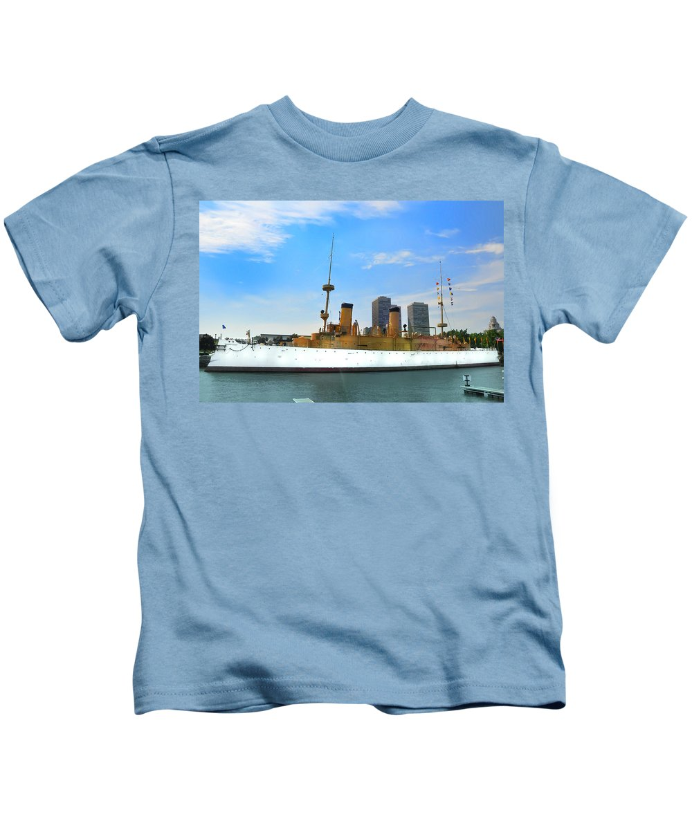 Spanish American War Kids T-Shirt featuring the photograph Uss Olympia by Bill Cannon