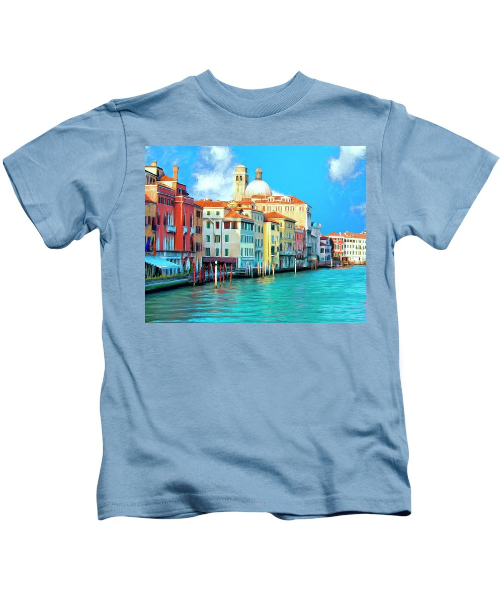 Grand Canal Kids T-Shirt featuring the painting Venice Grand Canal by Dominic Piperata
