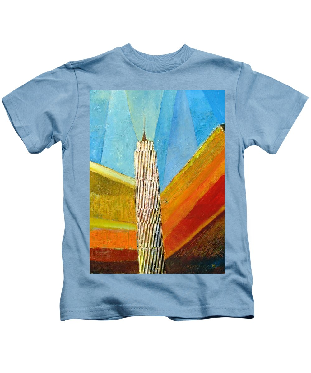 Abstract Cityscape Kids T-Shirt featuring the painting View From 34th St by Habib Ayat