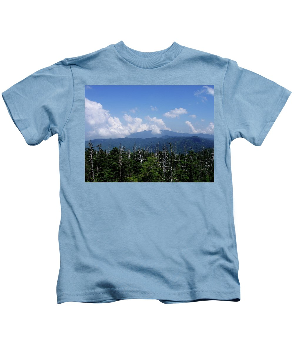 Smoky Mountains Kids T-Shirt featuring the photograph View From Clingman's Dome by Nancy Mueller