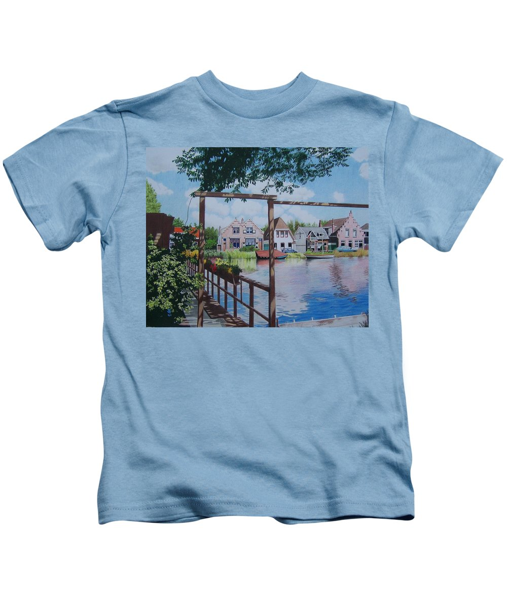 Landscape Kids T-Shirt featuring the mixed media View On Hillegersberg by Constance Drescher