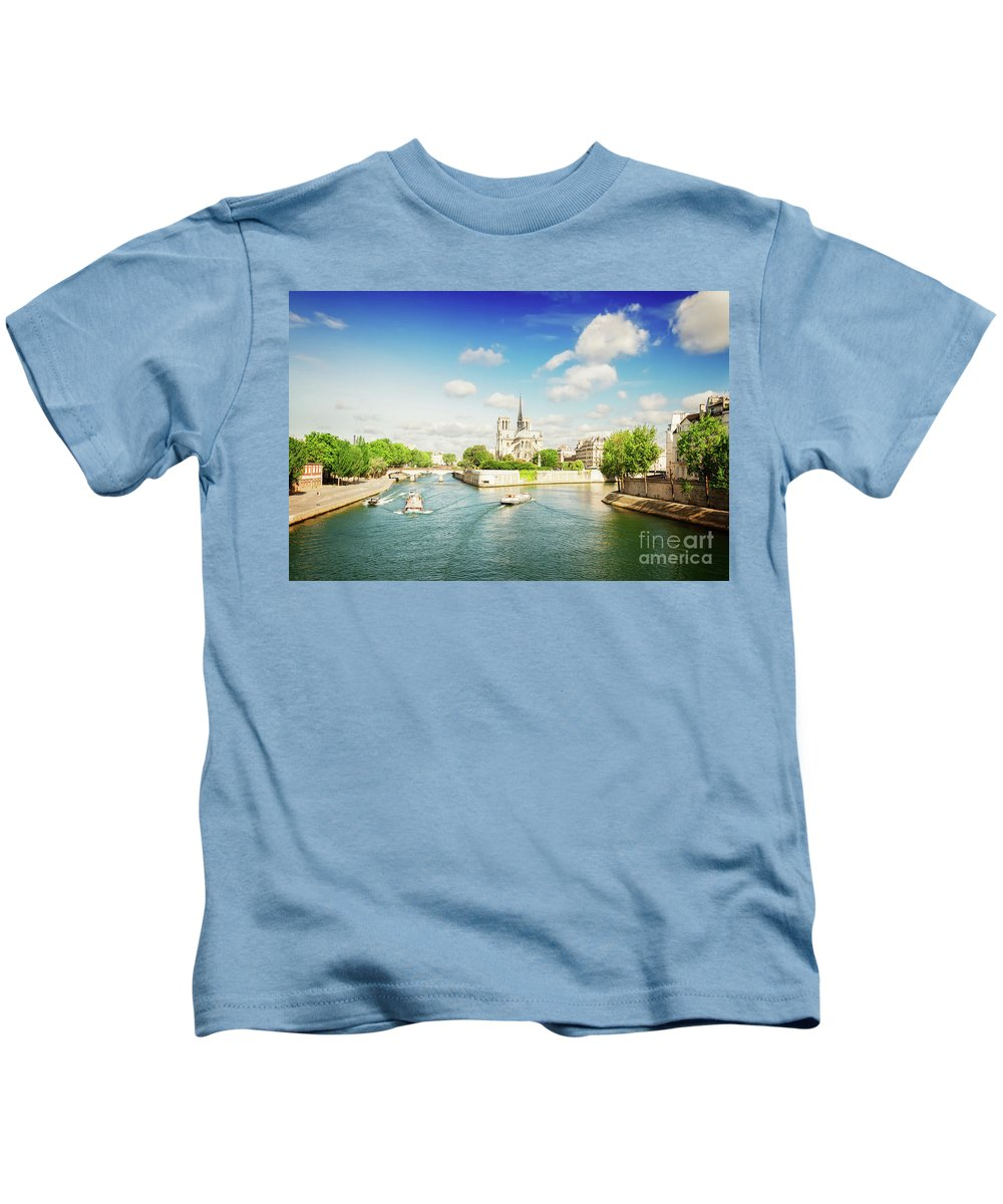 Notre-dame Kids T-Shirt featuring the photograph Notre Dame And River Seine by Anastasy Yarmolovich