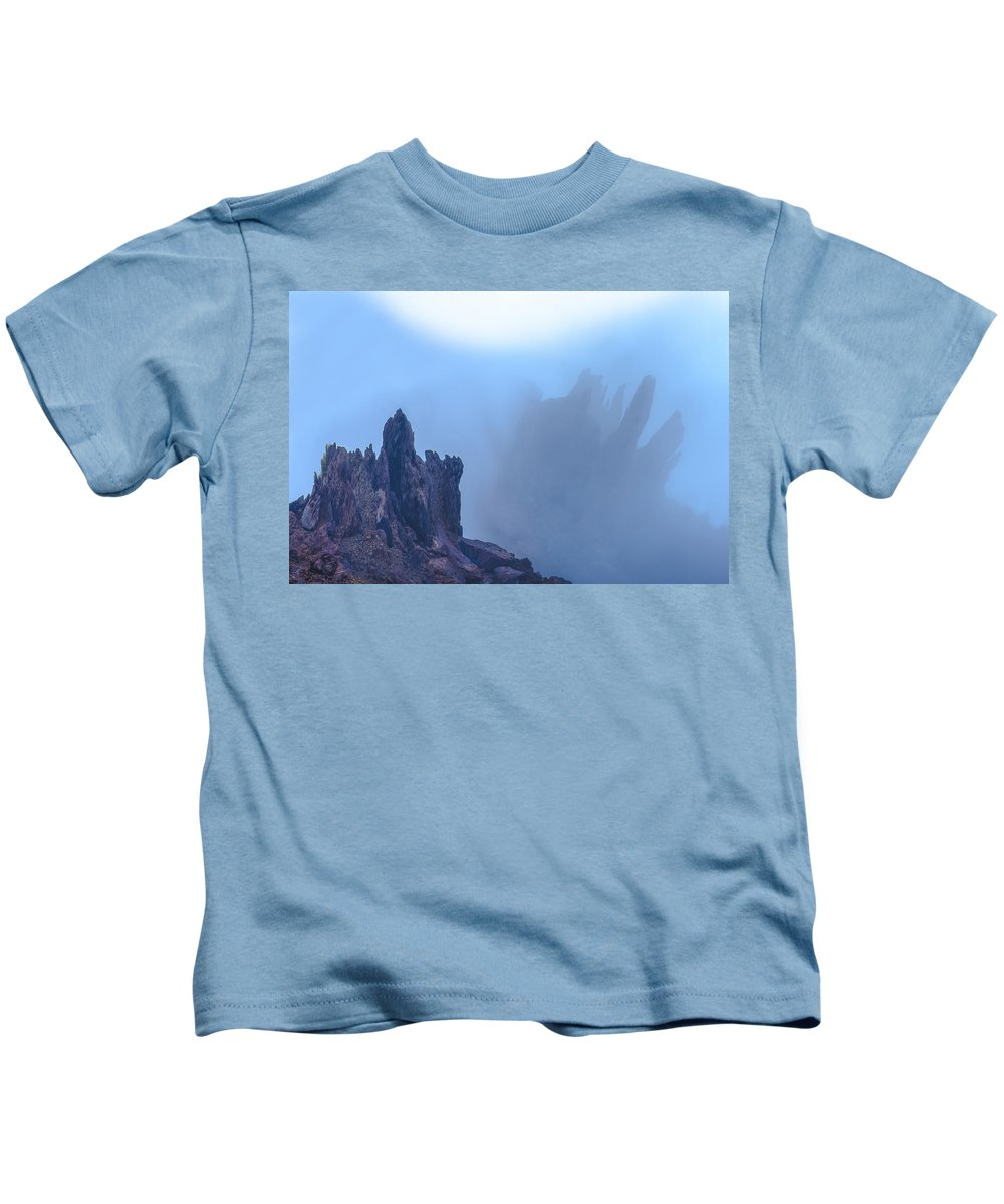 Canarias Kids T-Shirt featuring the photograph Volcano Mountains In The Fog by Jean-luc Bohin