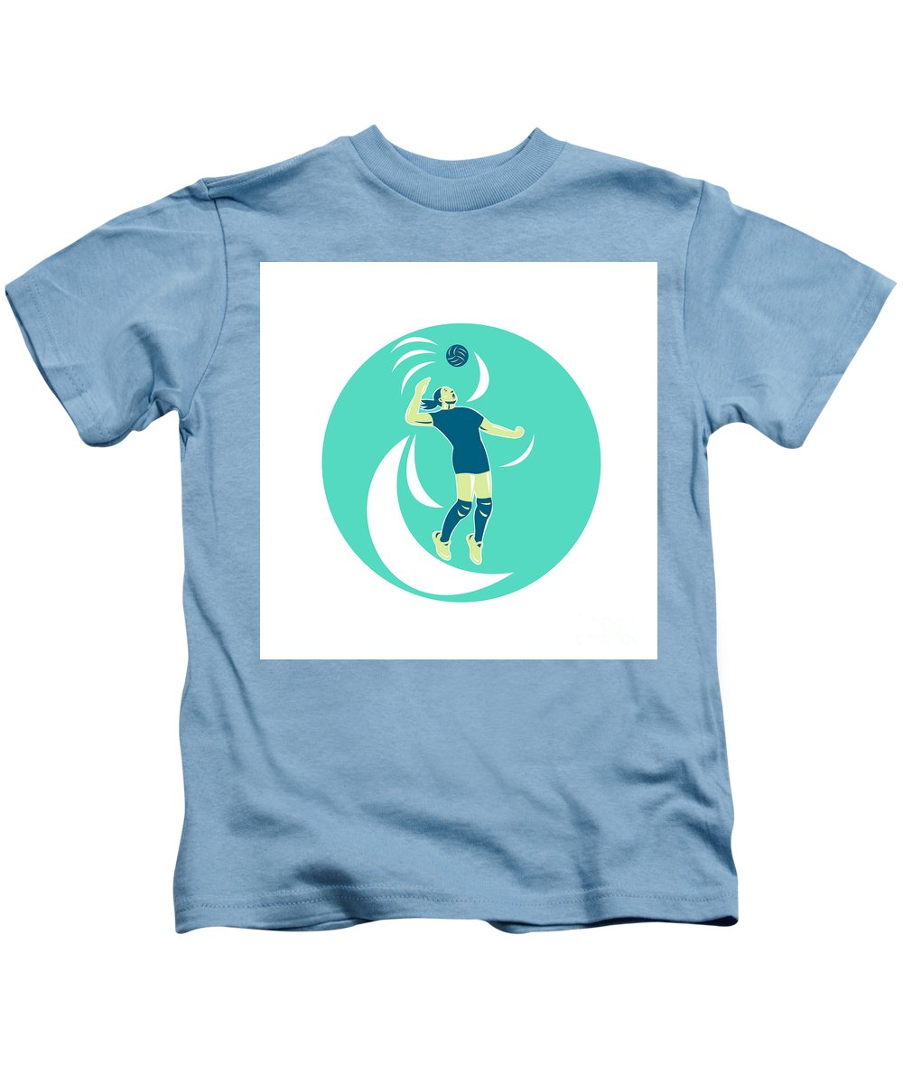 Volleyball Kids T-Shirt featuring the digital art Volleyball Player Spiking High Circle Retro by Aloysius Patrimonio