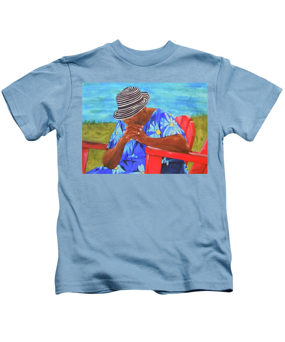 Caribbean Kids T-Shirt featuring the painting Waiting Patiently by Jean Blackmer