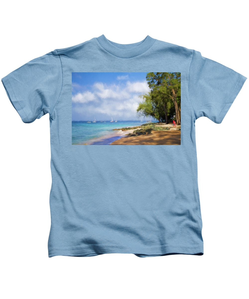 Barbados Kids T-Shirt featuring the photograph Walking Along The Beach, Holetown, Barbados by Eric Drumm