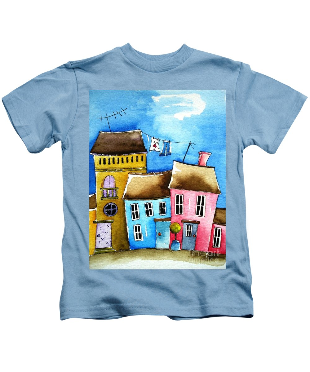 Suburbs Kids T-Shirt featuring the painting Wash Day by Lucia Stewart
