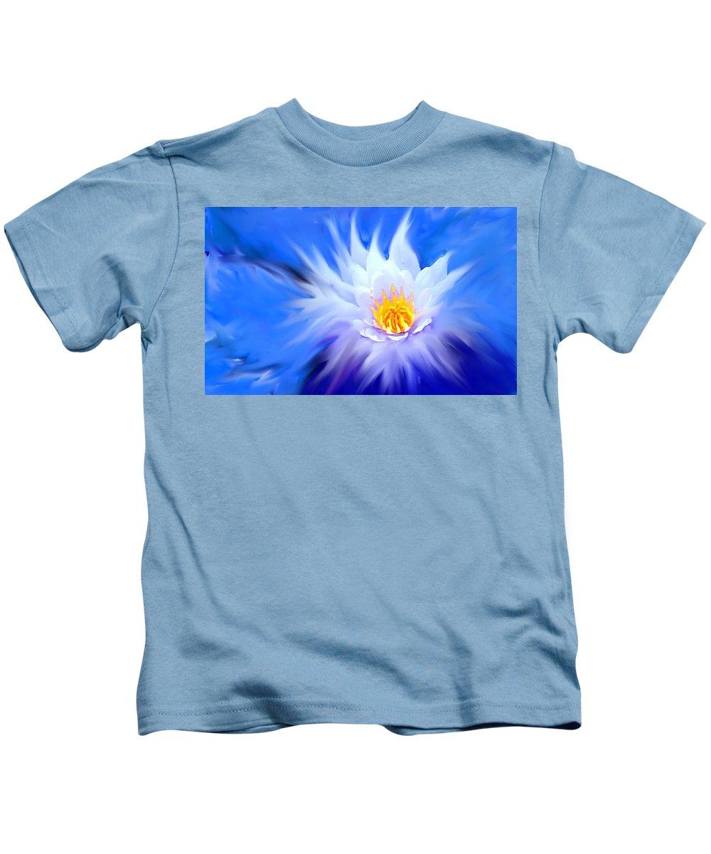 Blue Kids T-Shirt featuring the digital art Waterlillies Transformed by Ian MacDonald