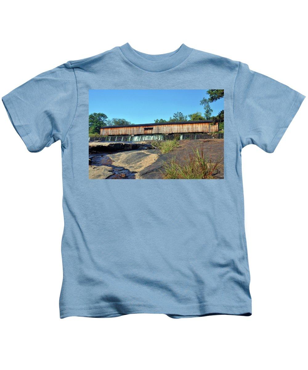 Nature Kids T-Shirt featuring the photograph Watson Mill Bridge by Kay Lovingood