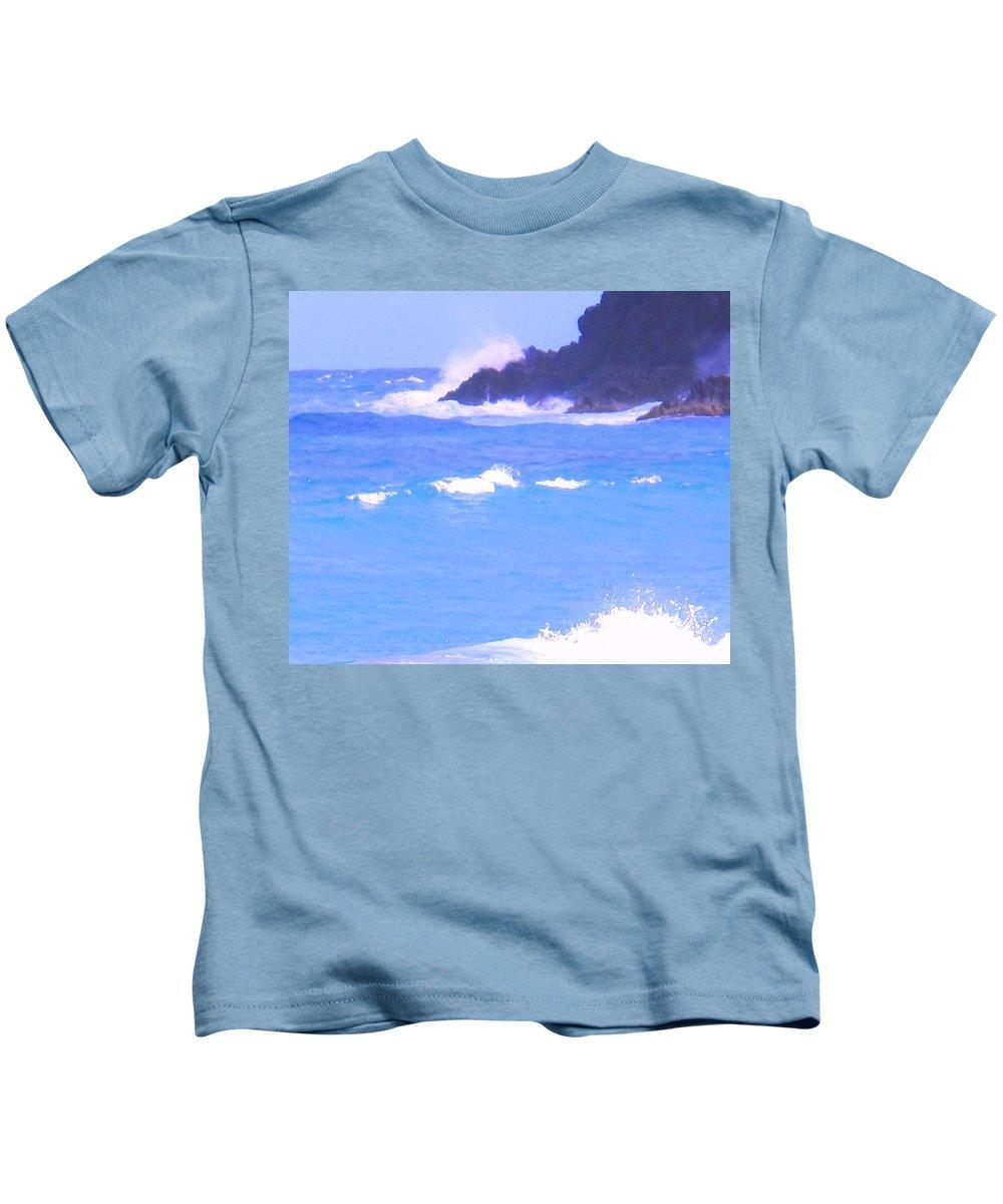 Ocean Kids T-Shirt featuring the photograph Waves Crashing by Ian MacDonald