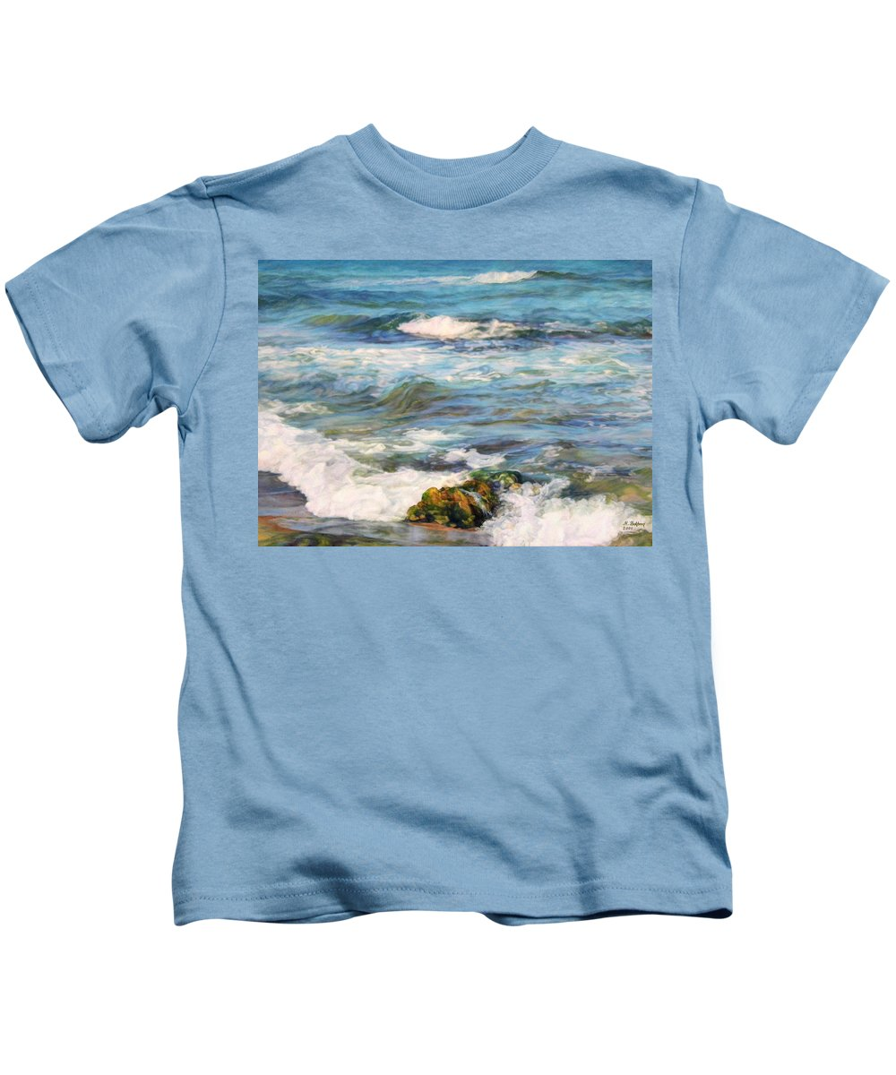 Waves Kids T-Shirt featuring the painting Sea Waves ... by Maya Bukhina