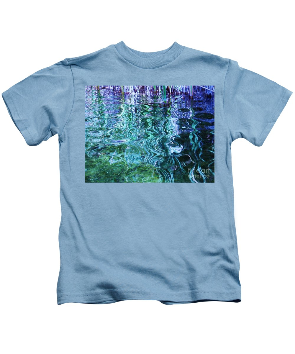 Photograph Blue Green Weed Shadow Lake Water Kids T-Shirt featuring the photograph Weed Shadows by Seon-Jeong Kim