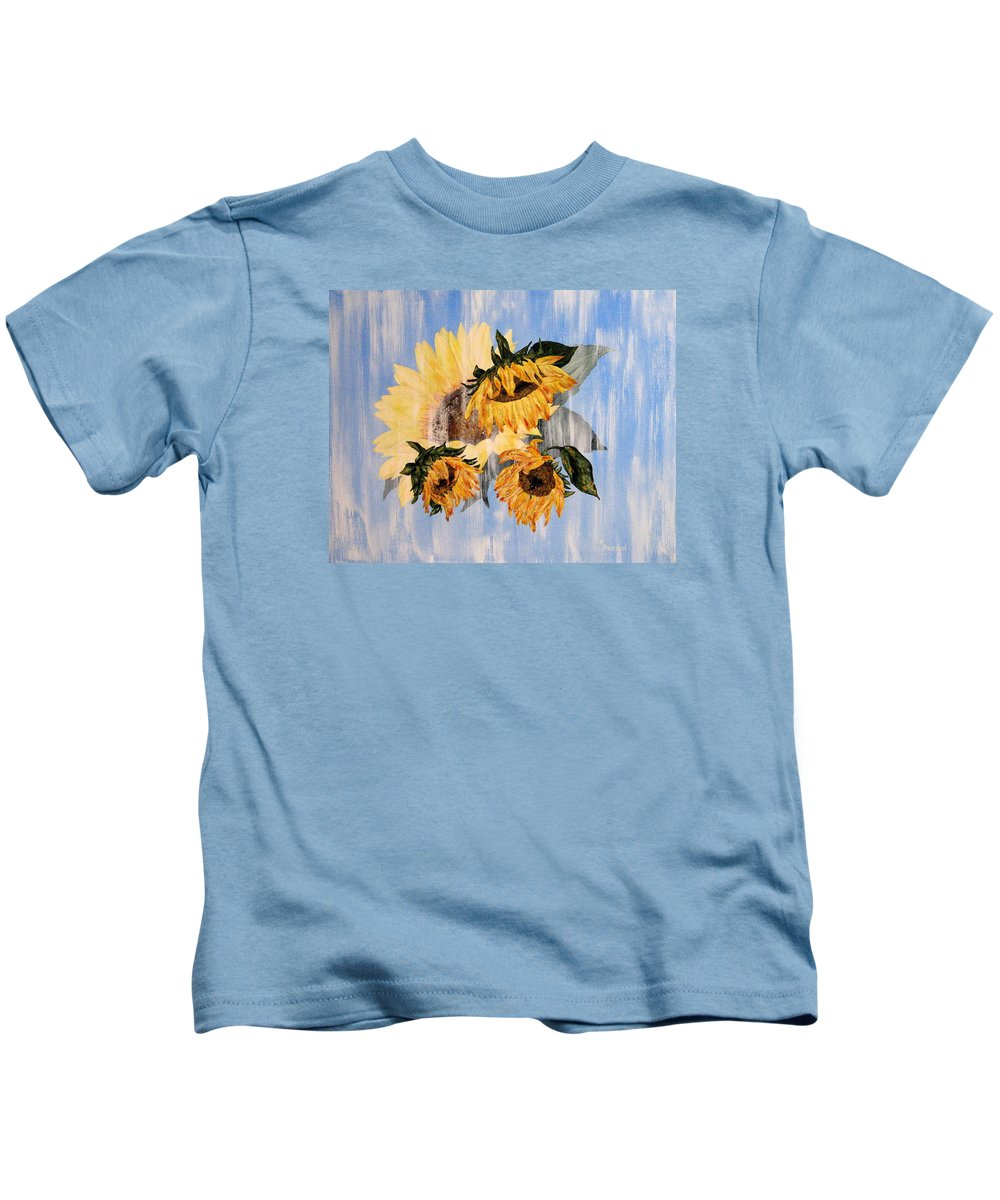 Sunflower Kids T-Shirt featuring the painting What Was, What Is by Mary Arneson