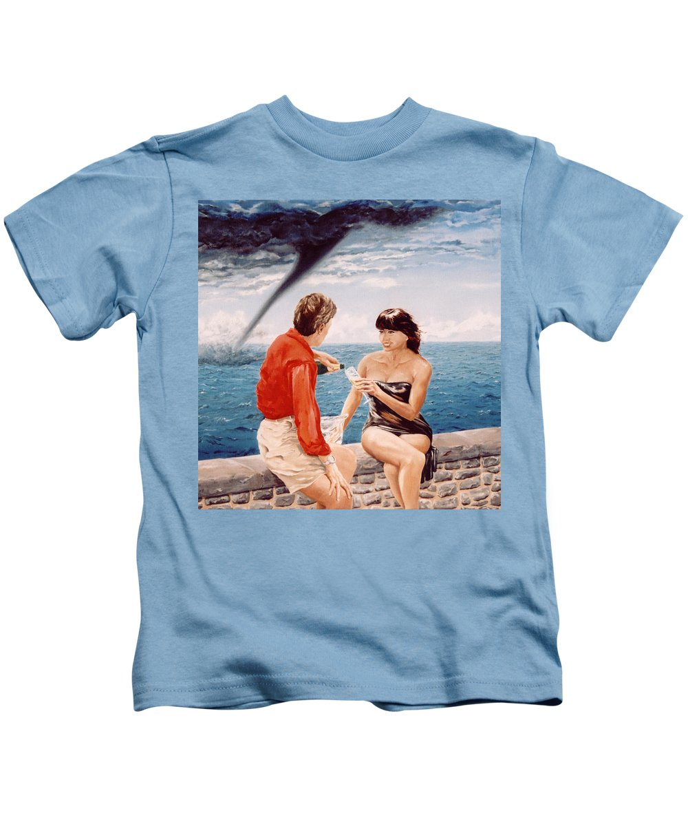 Whirlwind Kids T-Shirt featuring the painting Whirlwind Romance by Mark Cawood