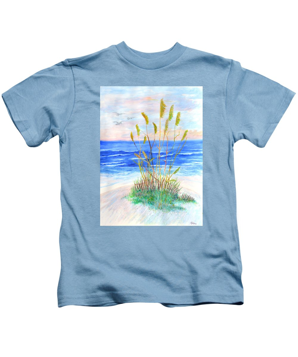 Sea Oats Kids T-Shirt featuring the painting Whispering Sea Oats by Ben Kiger