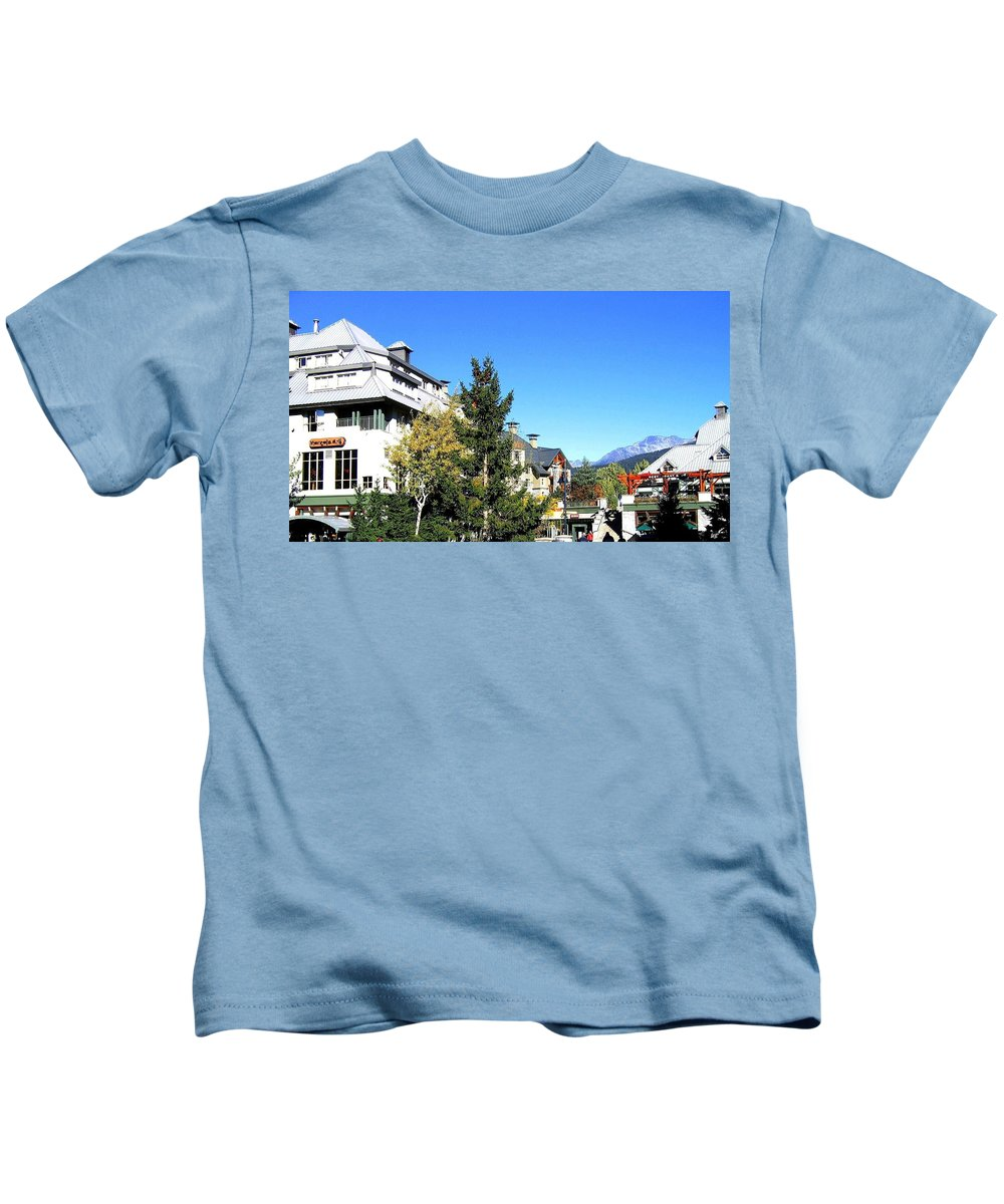 2010 Olympics Kids T-Shirt featuring the photograph Whistler Village by Will Borden
